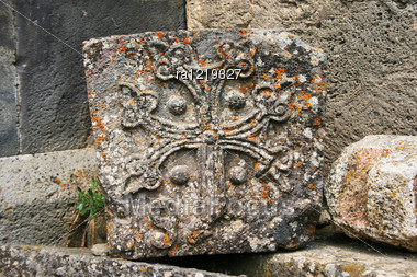 Cross-stones Or Khachkars At The 9th Century Armenian Monastery Of Tatev. Khachkars Are Carved Memorial Stele, Covered With Rosettes And Other Patterns, Unique Art Of Medieval Christian Armenia.There Stock Photo