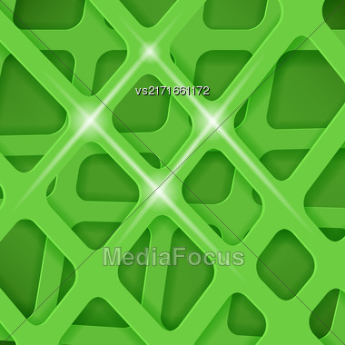 Crossed Lines Abstract Green Cover Background. Green Pattern Stock Photo