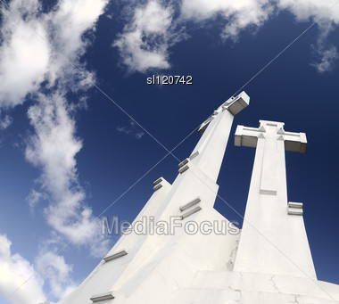Crosses On The Sky Background, In Vilnius. Clouds, Deep Blue Sky Stock Photo