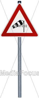 Crosswind Warning Sign Stock Photo