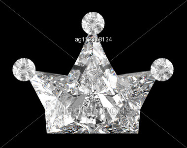 Crown Shaped Diamond Over Black Background. Other Gems Are In My Portfolio. Stock Photo