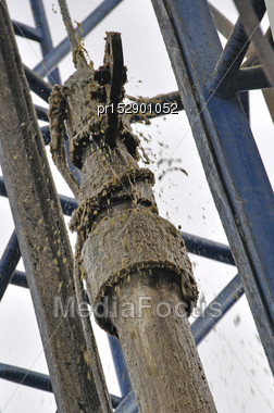 Crude Oil Is Pulled Out Of An Oilwell With The Cable During A Swabbing Operation Stock Photo