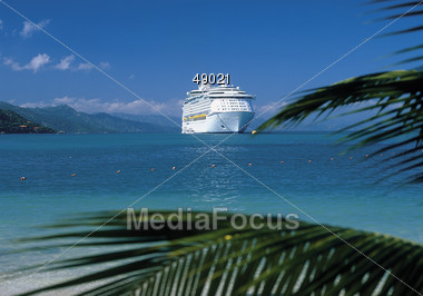 Cruise Ship in Tropical Waters Stock Photo