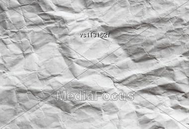 Crumpled White Sheet. Paper Background Stock Photo
