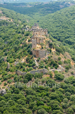 Crusader Fortress On The Mount Monfort In Northern Israel, Panorama Stock Photo