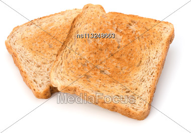 Crusty Bread Toast Slice Isolated On White Background Stock Photo