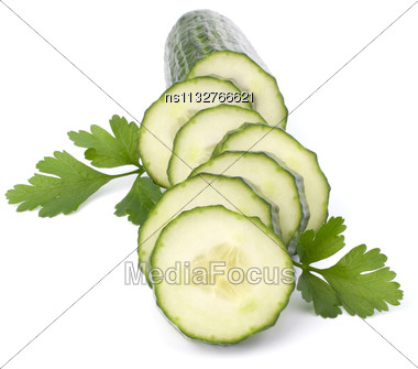 Cucumber Slices Isolated On White Background Cutout Stock Photo
