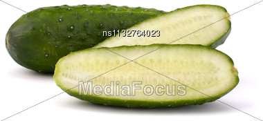Cucumber Vegetable Isolated On White Background Stock Photo
