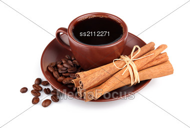 Cup Of Coffee And Bunch Of Cinnamon Stock Photo
