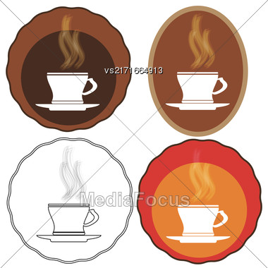 Cup Of Coffee Icons Isolated On White Background Stock Photo