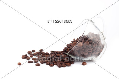 Cup Of Coffee With Seed Isolated Stock Photo