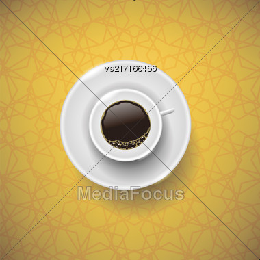 Cup Of Coffee On Yellow Ornamental Background. Top View Stock Photo