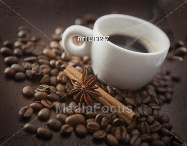 Cup Of Hot Coffee With Chinnamon, Anise. Old Image Style Stock Photo