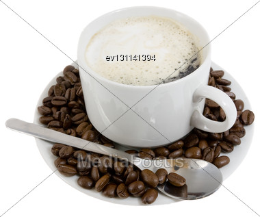 Cup Of Hot Coffee On A White Plateau And Grains Of Coffee. Isolated Stock Photo