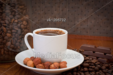cup of coffee, hazelnut and chocolate Stock Photo