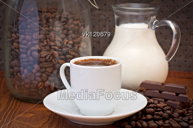 cup of coffee, milk and chocolate Stock Photo