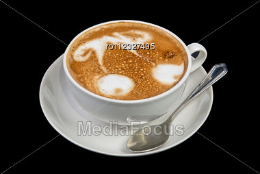 Cup Of Latte On A Dark Background Stock Photo