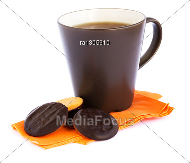 Cup Of Tea And Cookies Isolated On White Background. Stock Photo