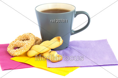 Cup Of Tea, Cookies And Rusks Stock Photo