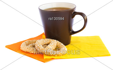 Cup Of Tea And Rusks Isolated On White Background. Stock Photo