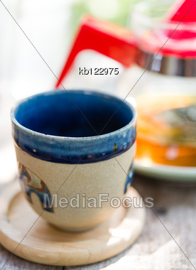 Cup Of Tea On Table In Afternoon Time Stock Photo