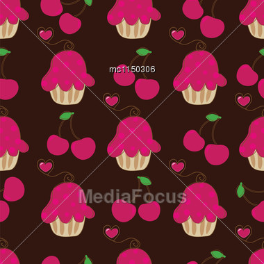 Cupcake Retro Seamless Pattern With Cute Cake And Heart Cherry. Vector Illustration For Design Of Gift Packs, Wrap, Patterns Fabric, Wallpaper, Web Sites And Other Stock Photo
