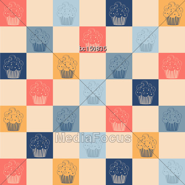 Cupcakes Seamless Pattern, Vector Format Stock Photo
