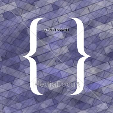 Curly Bracket Icon Isolated On Blue Brick Background Stock Photo