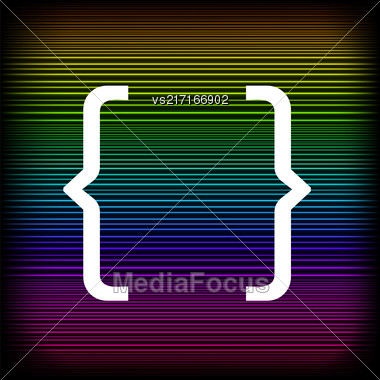 Curly Bracket Icon Isolated On Colorful Neon Background Stock Photo