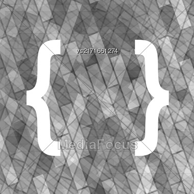 Curly Bracket Icon Isolated On Grey Brick Background Stock Photo