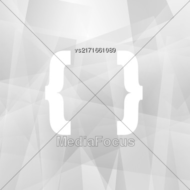 Curly Bracket Icon Isolated On Grey Polygonal Background Stock Photo