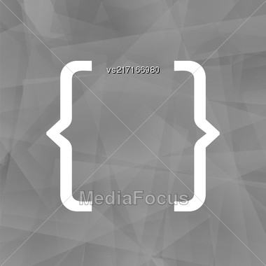 Curly Bracket Icon Isolated On Grey Polygonal Background Stock Photo