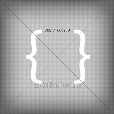 Curly Bracket Icon Isolated On Grey Squares Background Stock Photo