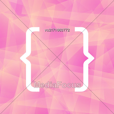 Curly Bracket Icon Isolated On Pink Polygonal Background Stock Photo