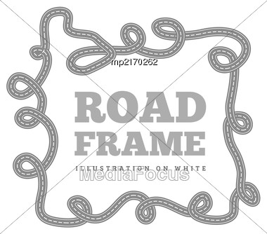 Curved Road Track In A Frame. Vector Illustration On White Background Stock Photo