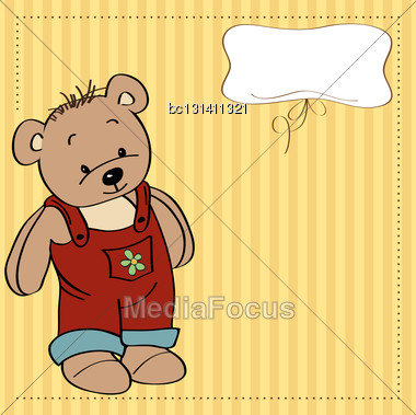 Customizable Childish Card With Funny Teddy Bear Stock Photo