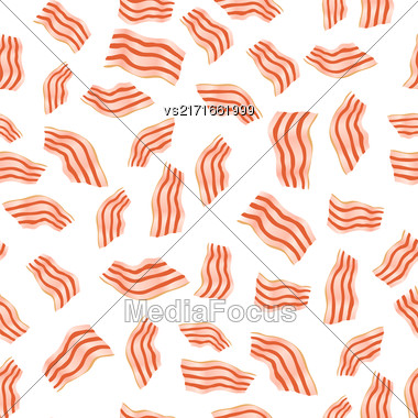 Cut Bacon Seamless Pattern Isolated On White Background Stock Photo