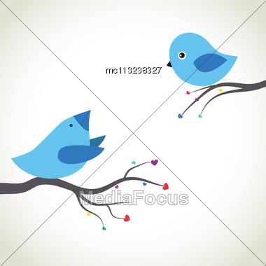 CutCute Greetings Card With Birds On A Swinge Greetings Card With Birds On A Swing Stock Photo