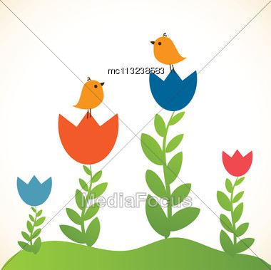 CutCute Greetings Card With Birds On A Swinge Greetings Card With Birds On A Swing Stock Photo
