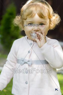 Cute Baby Girl Suckle Nipple Stock Photo