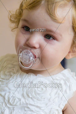 Cute Baby Girl With Tear Stock Photo