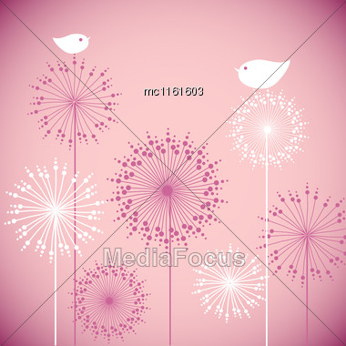 Cute Baby Shower Pink Invitation Card Design. Vector Illustration For Holiday Card, Birthday, Print, Invitation, Tag And Banner/ Birds On Flowers Stock Photo