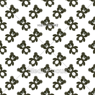 Cute Bear Isolated Seamless Pattern. Toy Background Stock Photo