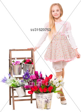 Cute Blond Girl Posing Near Flowers. Isolated On White Stock Photo