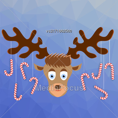 Cute Cartoon Deer With Candy Canes On The Horns On Winter Blue Ice Background. Polygonal Pattern. Symbols Of Christmas Stock Photo