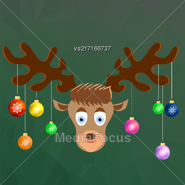 Cute Cartoon Deer With Colorful Glass Balls On The Horns On Winter Green Ice Background. Polygonal Pattern. Symbols Of Christmas Stock Photo