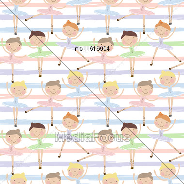 Cute Dancing Ballerina Girls In Blue, Green And Pink Dresses On Striped Background. Seamless Pattern For Baby And Child Wallpapers, Textile, Posters And Clothing Prints.Girlfriends In Ballet Dresses Stock Photo