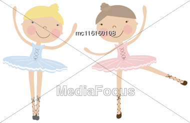 Cute Dancing Ballerina Girls In Blue, And Pink Dresses. Vector Illustration For Baby And Child Wallpapers, Textile, Posters And Clothing Prints.Girlfriends In Ballet Dresses Stock Photo