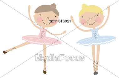 Cute Dancing Ballerina Girls In Blue And Pink Dresses On White. Vector Illustration With Girlfriends In Ballet Dancers Dresses Stock Photo
