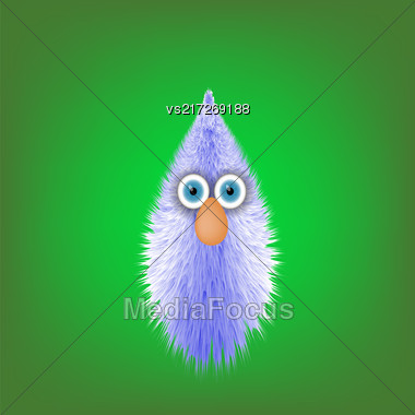 Cute Fur Toy Souvenir With Blue Eyes Isolated On Green Blurred Background Stock Photo